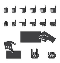 Hand gesture icon set black vector