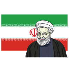 hassan rouhani portrait drawing cartoon vector image