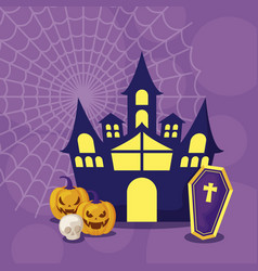 Haunted castle in scene halloween vector