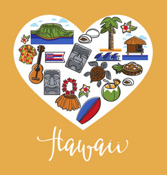 hawaii travel and landmark symbols poster vector image