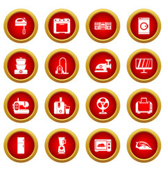 Household appliances icon red circle set vector