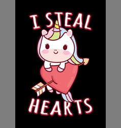 i steal hearts unicorn t shirt vector image