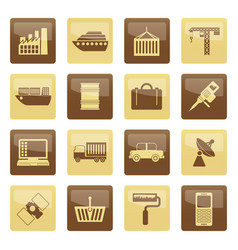 industry and business icons over brown background vector image