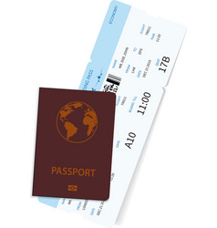 international passport with airline ticket inside vector image