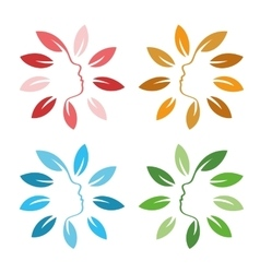 Isolated abstract colorful floral logo set Round vector