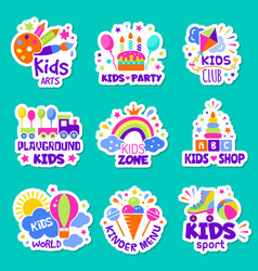 kids logo toys shop identity creative children vector image