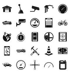 Large parking icons set simple style vector