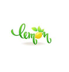 Lemon lettering composition for your citrus juice vector
