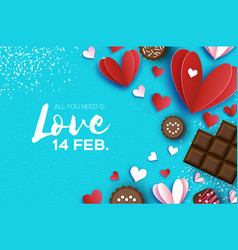 Love chocolate valentines day greeting card red vector