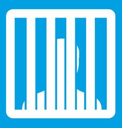 Man behind jail bars icon white vector