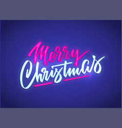 merry christmas neon text sign background vector image