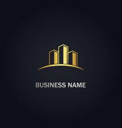 Modern building company gold logo vector