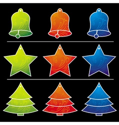 Nine christmas toy over black background vector