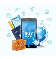 Online Ticket Airline with Mobile App vector image