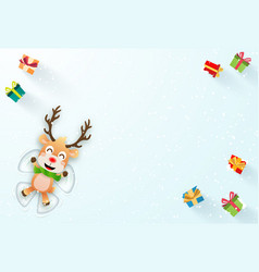 origami paper art reindeer make a snow angel vector image