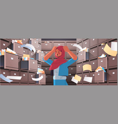 Overworked arab businesswoman searching documents vector