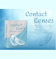Package box for contact lenses mock-up vector