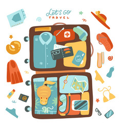 packing beach stuff for travel to sea or vector image