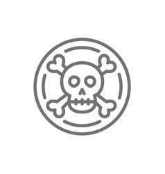 pirate coin doubloon treasure line icon vector image