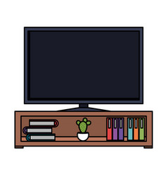 plasma tv in wooden shelf vector image