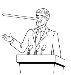 Politician with long nose lies coloring book vector