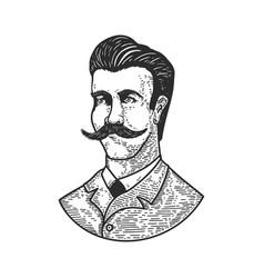 portrait gentleman in engraving style design vector image