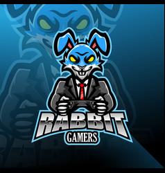Rabbit esport mascot logo design vector