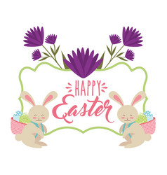 rabbits with basket in back with eggs happy easter vector image