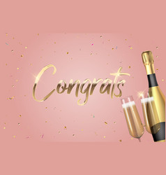 Realistic 3d congrats background with bottle vector