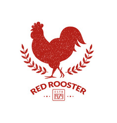 Red rooster label with poultry silhouette vector