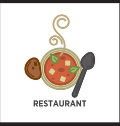 restaurant icon template of soup plate vector image
