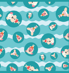 seamless pattern cute puppies dogs on vacation vector image