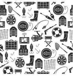seamless pattern with fishing gear icons vector image