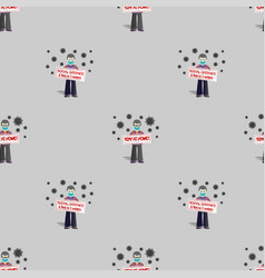 Seamless pattern without a mask standing people vector