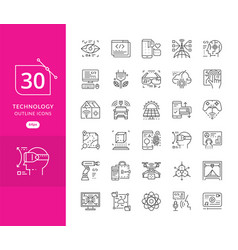 Set line icons in flat design future techno vector