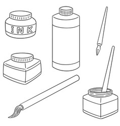 set of ink brush and dip pen vector image