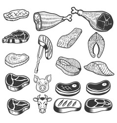 set of meat icons pig and cow heads design vector image