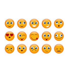 Set of yellow emojis vector