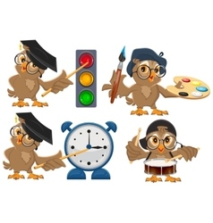 Set owl teacher vector