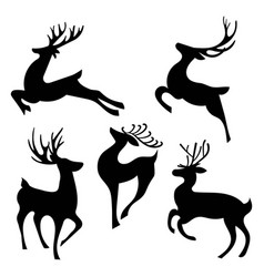 set silhouettes running deer collection vector image