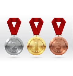 sports medals golden silver bronze medal with red vector image
