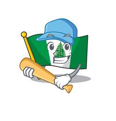 Sporty flag norfolk island cartoon character vector