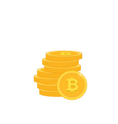 stack of gold coins white background image vector image