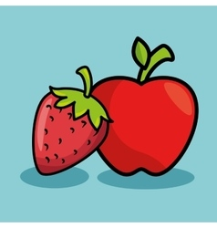 Strawberry and apple fresh fruit isolated icon vector
