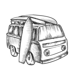 surf boards and retro surf van monochrome vector image
