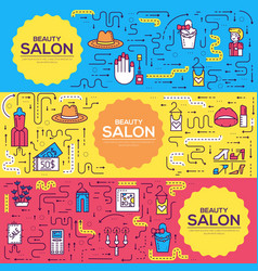 thin line beauty salon with assortment vector image