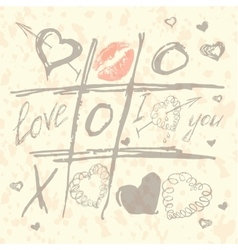 Tic Tac Toe Hearts Valentine background vector image