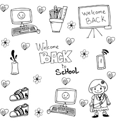 Tools school in doodle flat vector