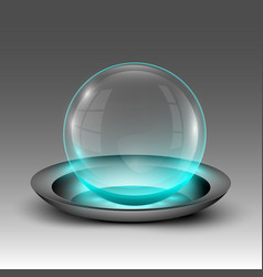 Transparent sphere on plate vector