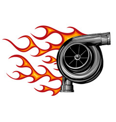 Turbo charger with flames vector
